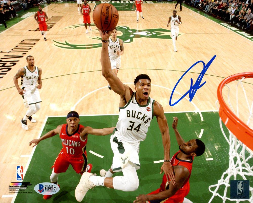 Giannis Antetokounmpo Milwaukee Bucks Autographed Signed 8x10 Photo BECKETT