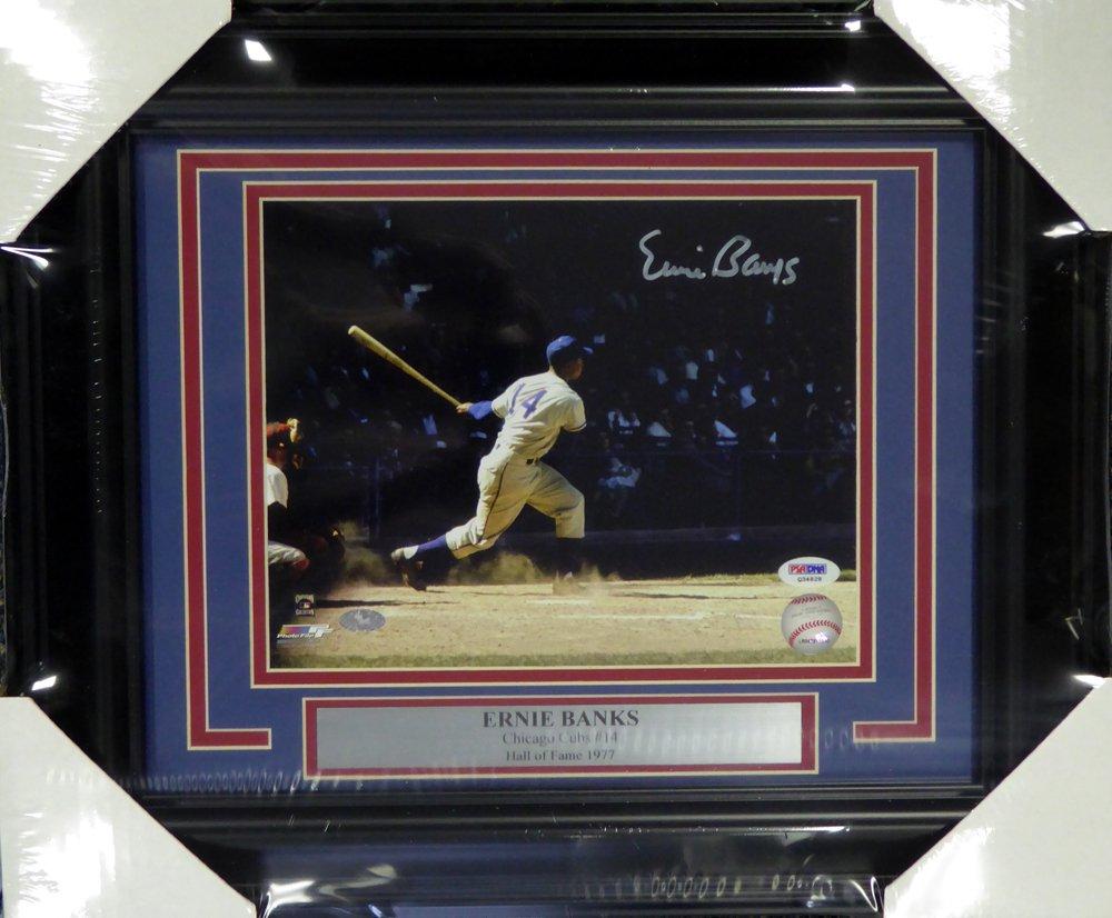Ernie Banks Chicago Cubs Signed Autographed Framed 8x10 Photo PSA