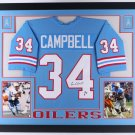 Earl Campbell Autographed Signed Houston Oilers Framed Jersey JSA