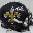 Drew Brees Autographed Signed New Orleans Saints Matte Black Speed Mini Helmet BECKETT