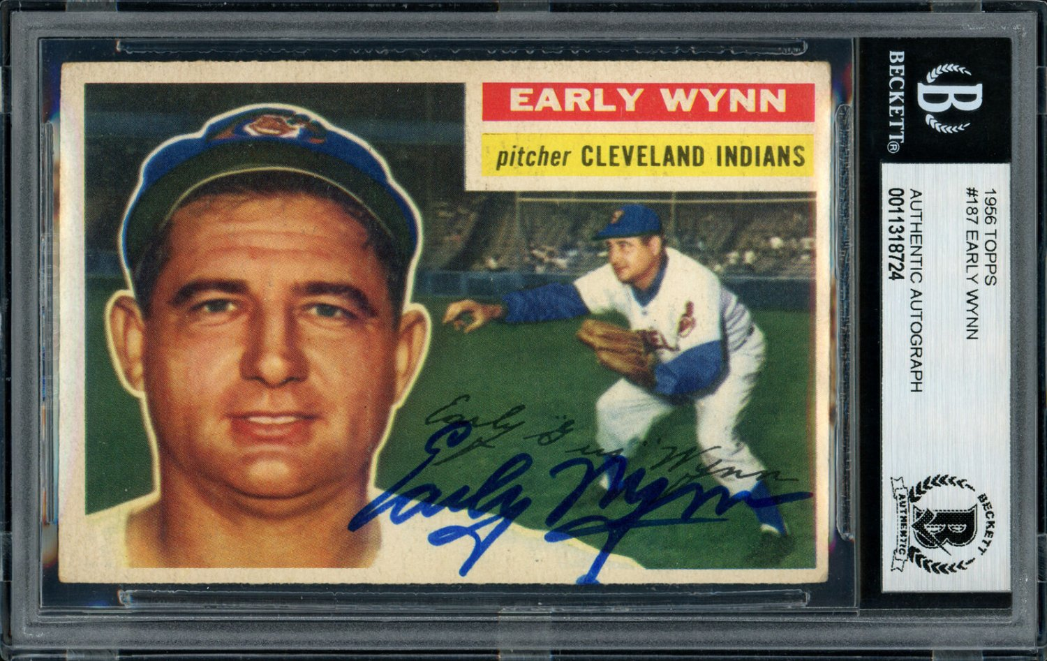 Early Wynn Cleveland Indians Autographed Signed 1956 Topps Card BECKETT