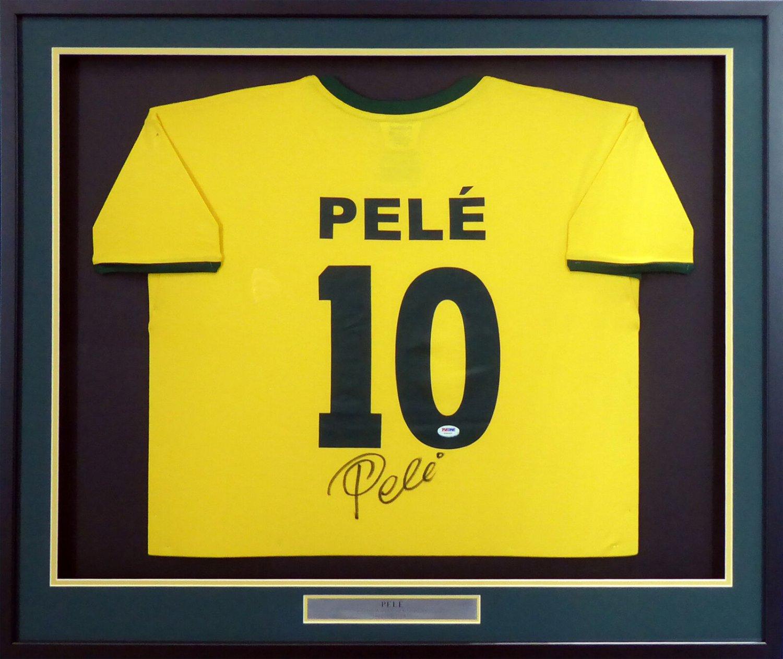 Pele Signed Autographed Framed CBD Brazil Jersey PSA/DNA