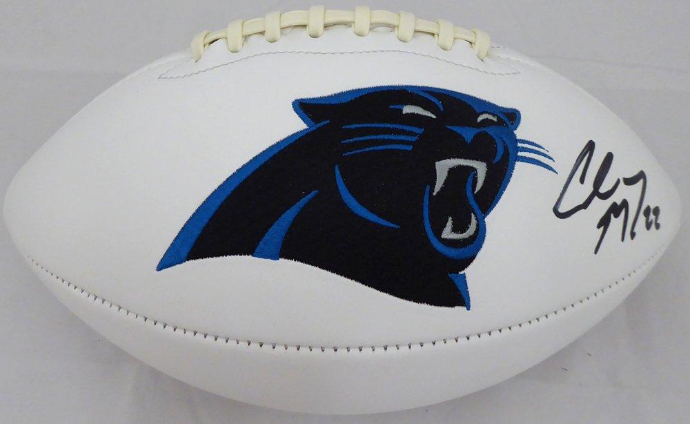 Christian McCaffrey Autographed Signed Carolina Panthers Logo Football BECKETT