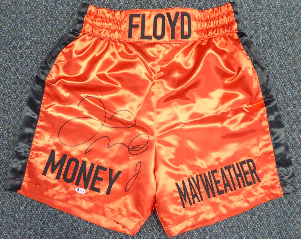 Floyd Mayweather Jr. Signed Autographed Boxing Trunks BECKETT