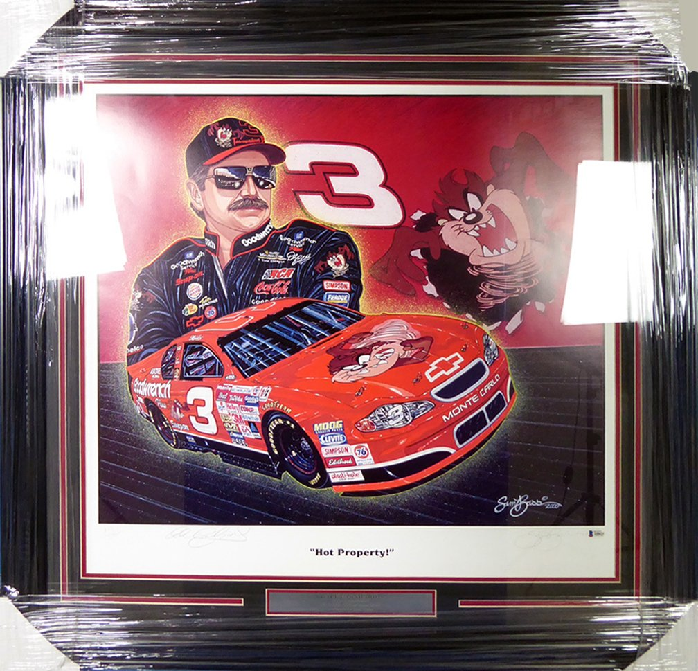 Dale Earnhardt Autographed Framed Sam Bass Print Lithograph Photo BECKETT