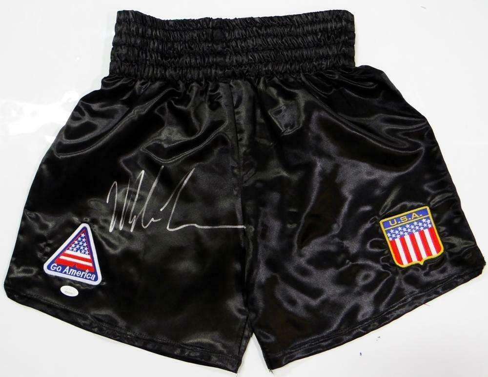 Mike Tyson Autographed Signed Black Boxing Trunks JSA