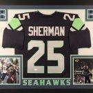 Richard Sherman Autographed Signed Framed Seattle Seahawks Jersey JSA