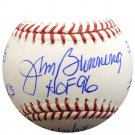 Jim Bunning Philadelphia Phillies Autographed Signed Baseball  w/ 6 Stats PSA