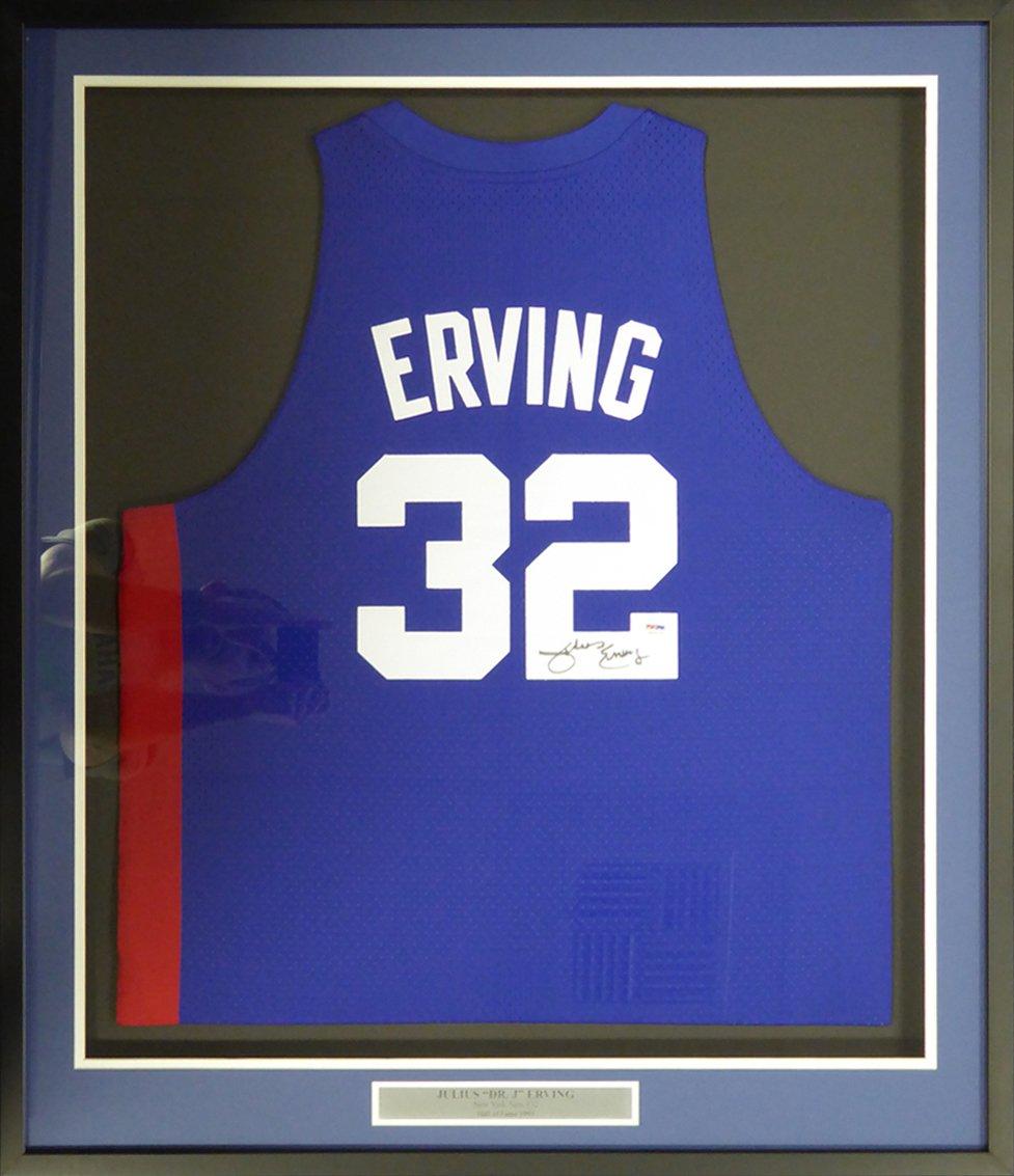 Dr. J Julius Erving Signed Autographed Framed New Jersey Nets Adidas Jersey PSA