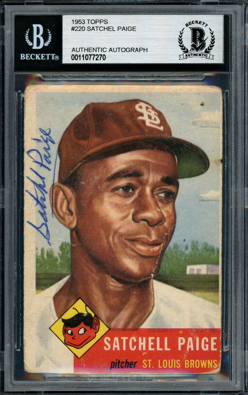 Satchel Paige St. Louis Browns Signed Autographed 1953 Topps Card BECKETT