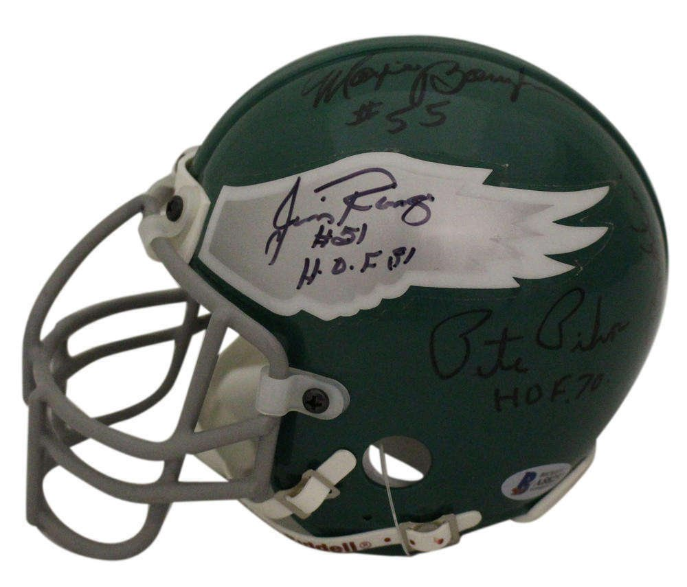 9 Eagles Legends Signed Autographed Philadelphia Eagles Mini Helmet BECKETT