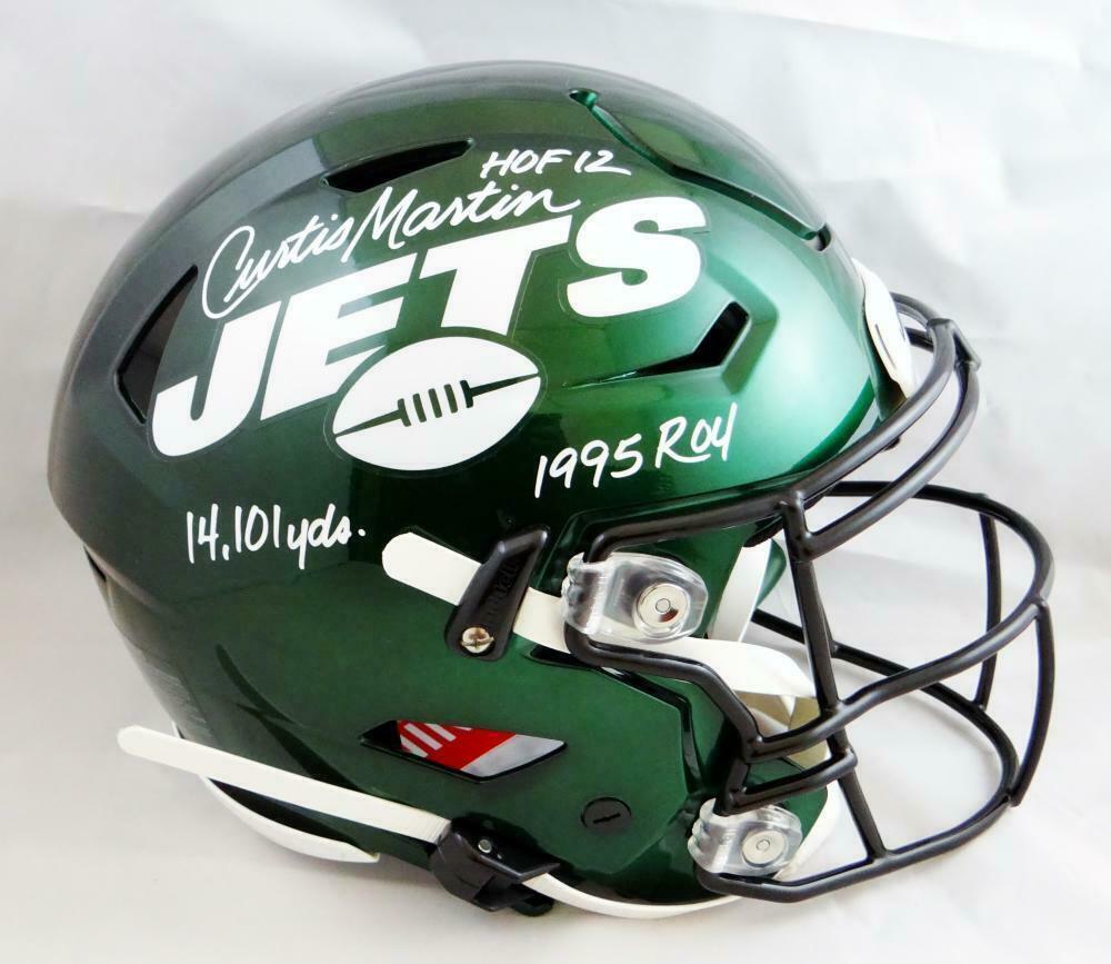 Curtis Martin Autographed Signed New York Jets FS SpeedFlex Helmet BECKETT