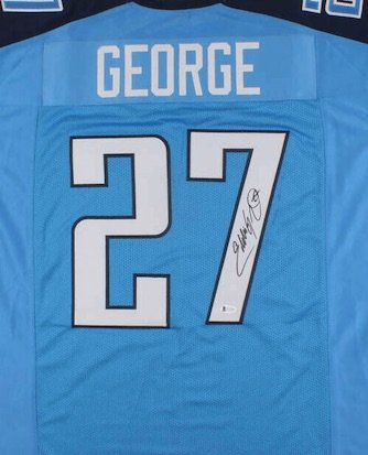 Eddie George Signed Autographed Tennessee Titans Jersey BECKETT