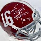 Tua Tagovalioa Autographed Signed Alabama Crimson Tide Mini Helmet PSA