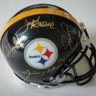 Steel Curtain (4) Signed Autographed Pittsburgh Steelers Mini Helmet JSA
