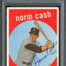 Norm Cash Detroit Tigers Signed Autographed 1959 Topps Rookie Card PSA