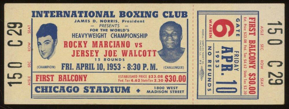Vintage 1953 Rocky Marciano vs. Jersey Joe Walcott Boxing Ticket