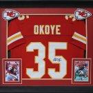 Christian Okoye Autographed Signed Framed Kansas City Chiefs Jersey BECKETT