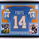 Dan Fouts Autographed Signed Framed Sand Diego Chargers Jersey JSA