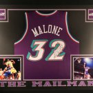 Karl Malone Autographed Signed Framed Utah Jazz Jersey BECKETT