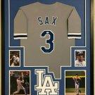 Steve Sax Autographed Signed Framed Los Angeles Dodgers Jersey JSA