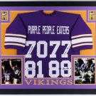 Purple People Eaters Autographed Signed Framed Minnesota Vikings Jersey TSE COA