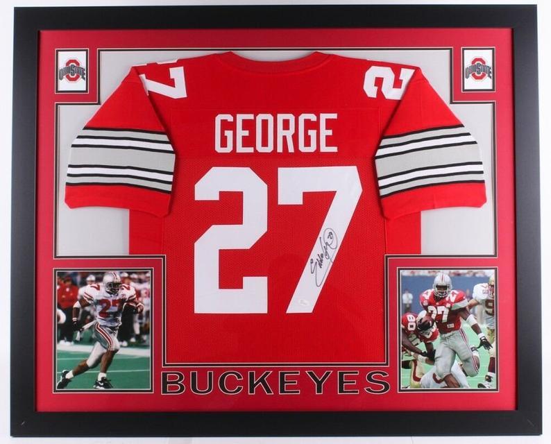 Eddie George Autographed Signed Framed Ohio State Buckeyes Jersey JSA