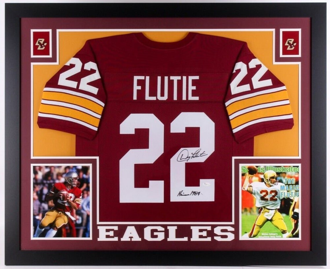 Doug Flutie Autographed Signed Framed Boston College Eagles Jersey JSA COA