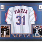 Mike Piazza Autographed Signed New York Mets Framed Jersey PSA