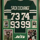 New York Sack Exchange (4 Sigs) Autographed Signed Framed New York Jets Jersey BECKETT