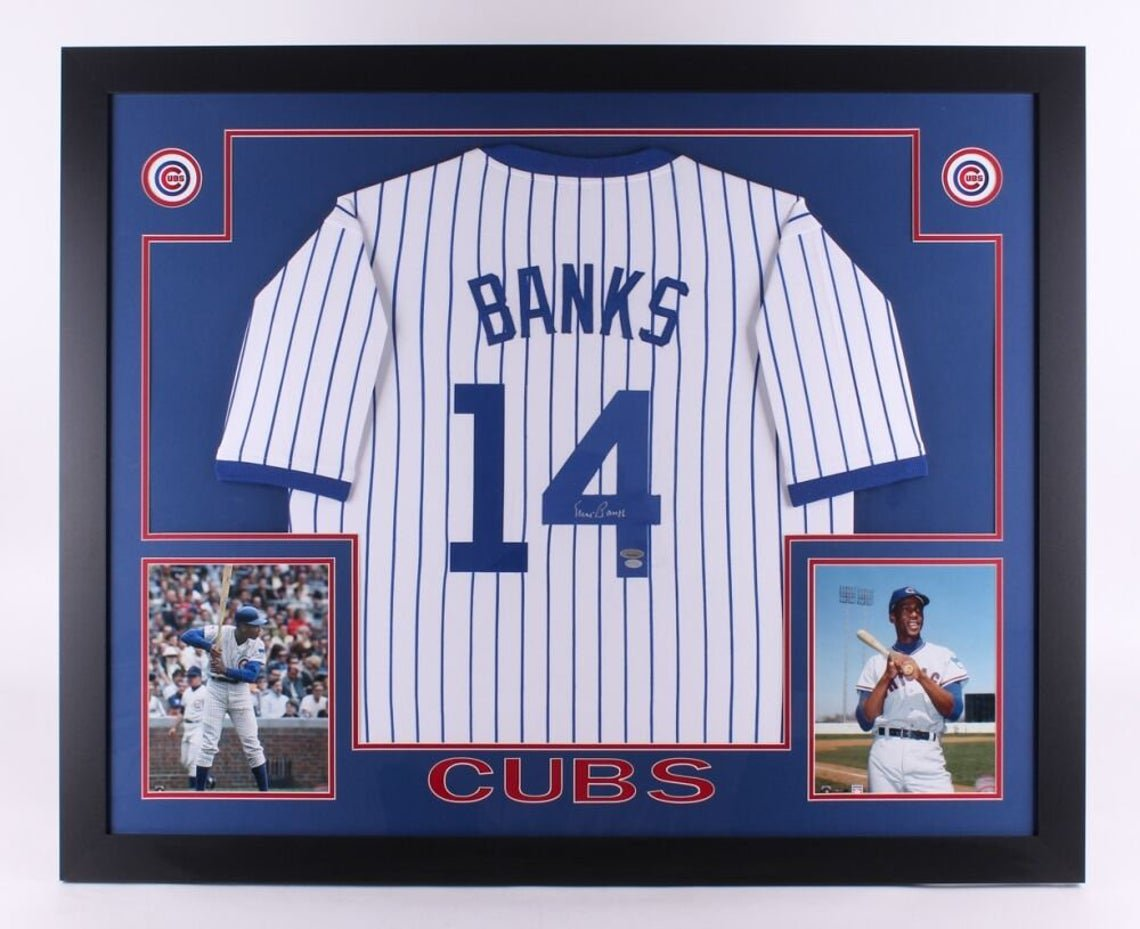 Ernie Banks Autographed Signed Chicago Cubs Framed Jersey TRISTAR