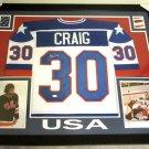 Jim Craig Autographed Signed Framed Team USA Jersey JSA
