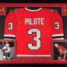 Pierre Pilote Signed Autographed Framed Chicago Blackhawks Jersey JSA