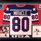 Mike Eruzione Autographed Signed Framed Team USA Jersey JSA