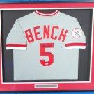 Johnny Bench Autographed Signed Framed Cincinnati Reds Cooperstown Jersey PSA