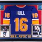 Brett Hull Signed Autographed St. Louis Blues Framed Jersey JSA