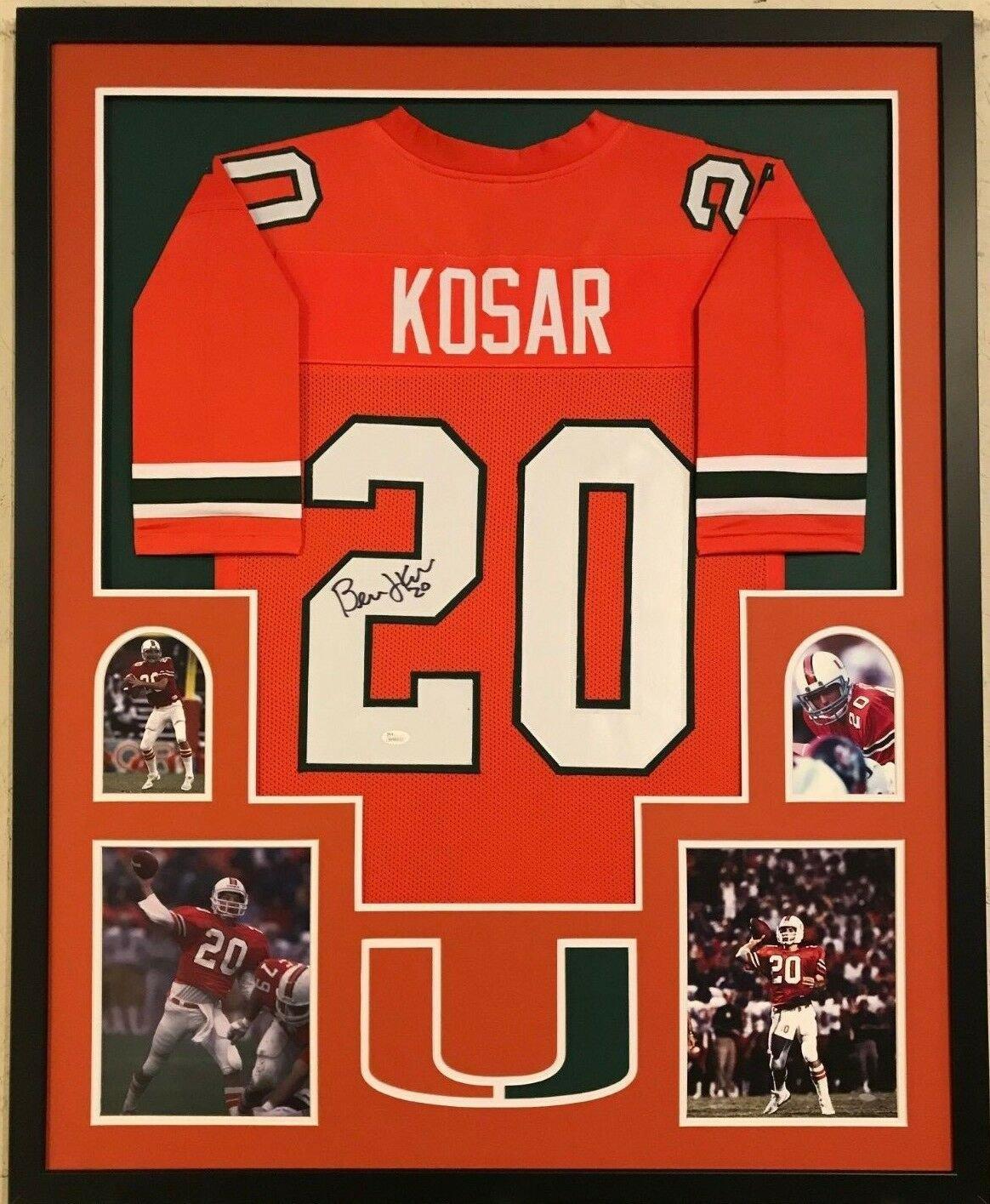Bernie Kosar Autographed Signed Framed Miami Hurricanes Jersey JSA