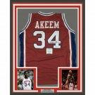 Hakeem Olajuwon Signed Autographed Framed Houston Cougars Jersey BECKETT
