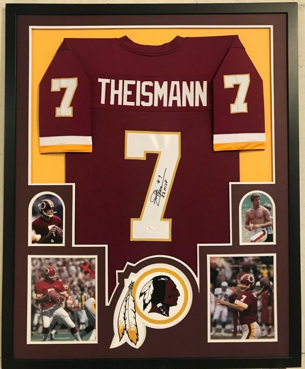 Joe Theismann Autographed Signed Framed Washington Redskins Jersey JSA
