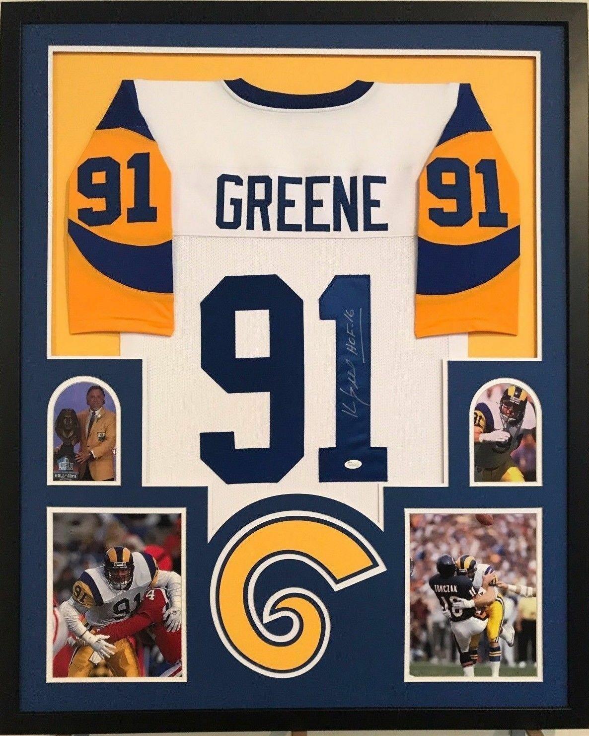 Kevin Greene Autographed Signed Framed Los Angeles Rams Jersey JSA