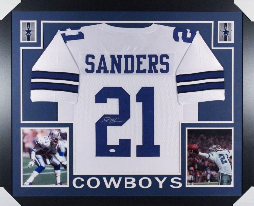 Deion Sanders Autographed Signed Framed Dallas Cowboys Jersey JSA