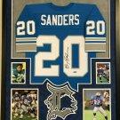 Barry Sanders Autographed Signed Framed Detroit Lions M&N Jersey BECKETT