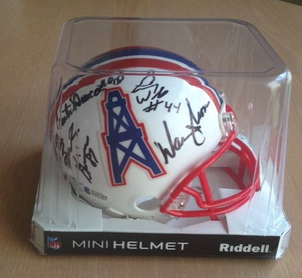 Run N Shoot (Moon +4 Others) Signed Autographed Houston Oilers Mini Helmet BECKETT