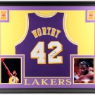 James Worthy Autographed Signed Framed Los Angeles Lakers Jersey PSA