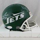 New York Sack Exchange (4) Autographed Signed Jets Mini Helmet JSA