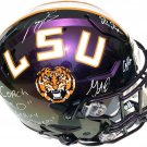 2019 LSU Tigers Team (Burrow, Orgeron, Jefferson +3) Autographed Signed Tigers Proline Helmet PSA
