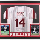 Pete Rose Autographed Signed Philadelphia Phillies Pinstriped Framed Jersey COA