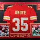 Christian Okoye Autographed Signed Framed Kansas City Chiefs Jersey JSA