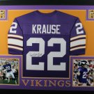 Paul Krause Autographed Signed Framed Minnesota Vikings Jersey JSA