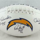 Fouts Winslow & Joiner Autographed Signed San Diego Chargers Logo Football JSA